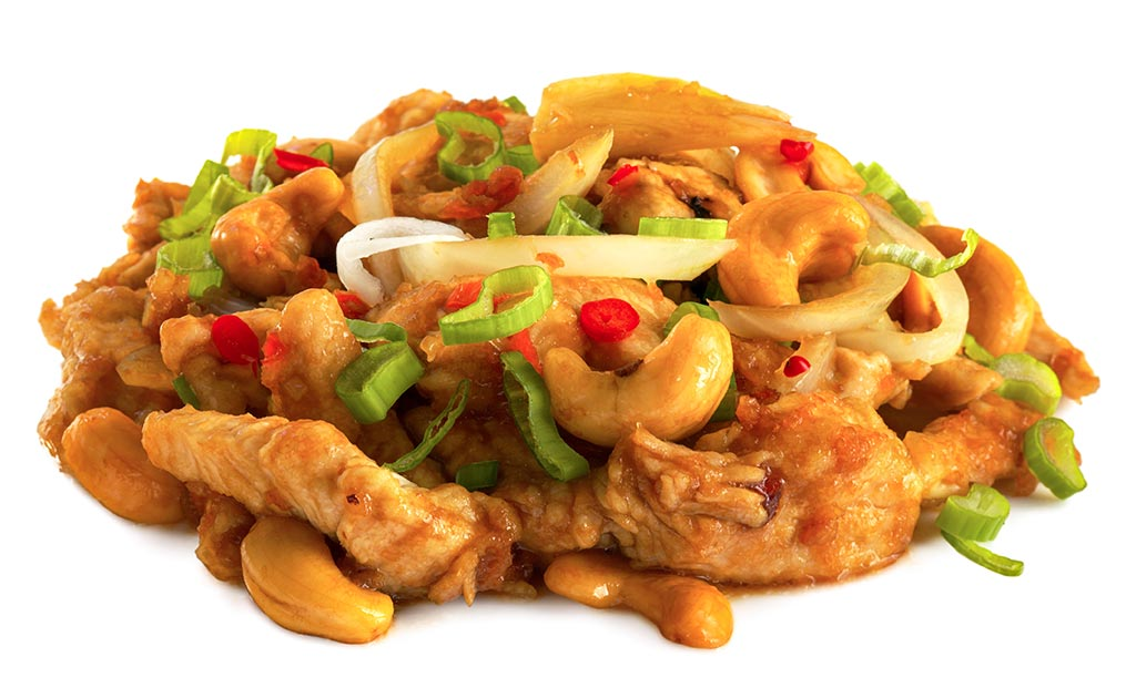 Chicken with cashew nuts in wok