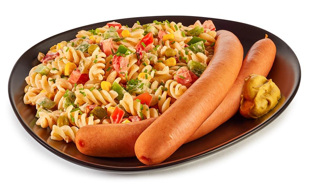 Noodle salad & sausages