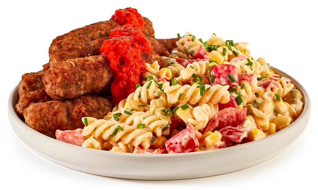 Cevapcici with Noodle Salad