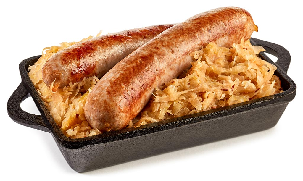 Roast sausage with sauerkraut