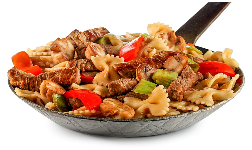 Noodle pan with beef meat