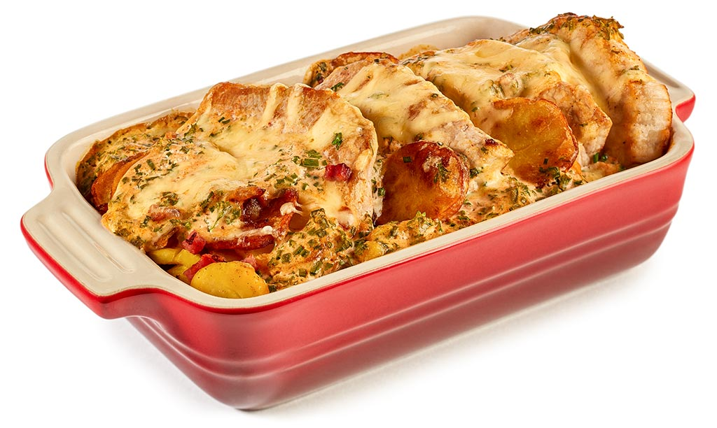 Fried Potato Casserole w. Pork Chops