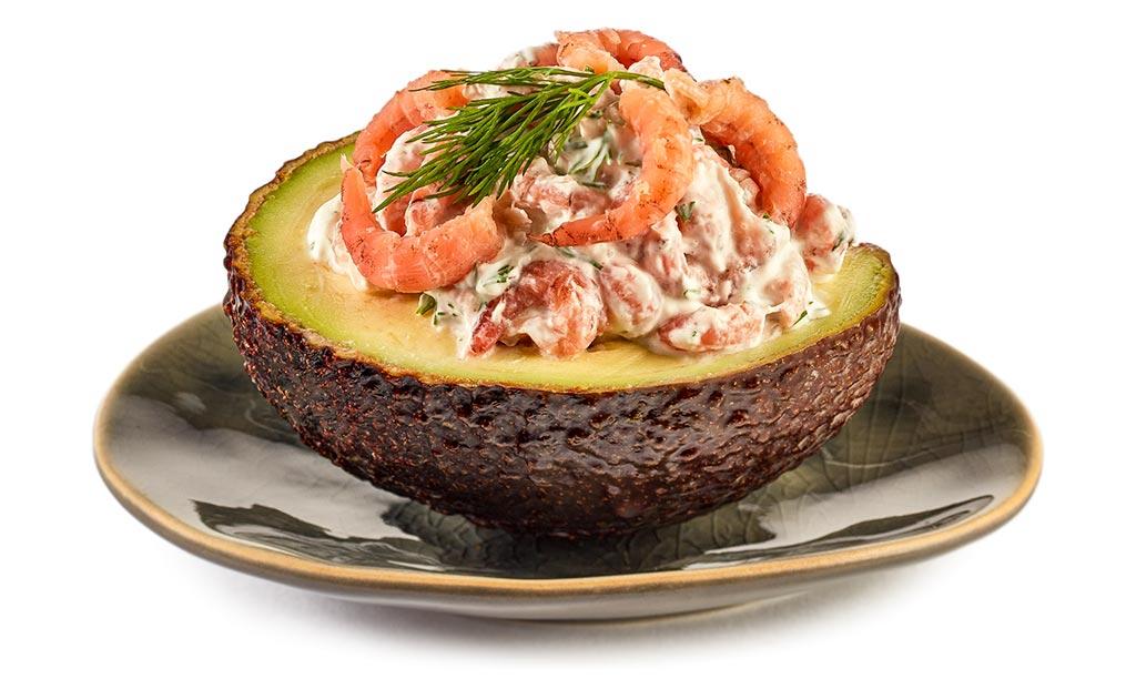 Avocado with prawns