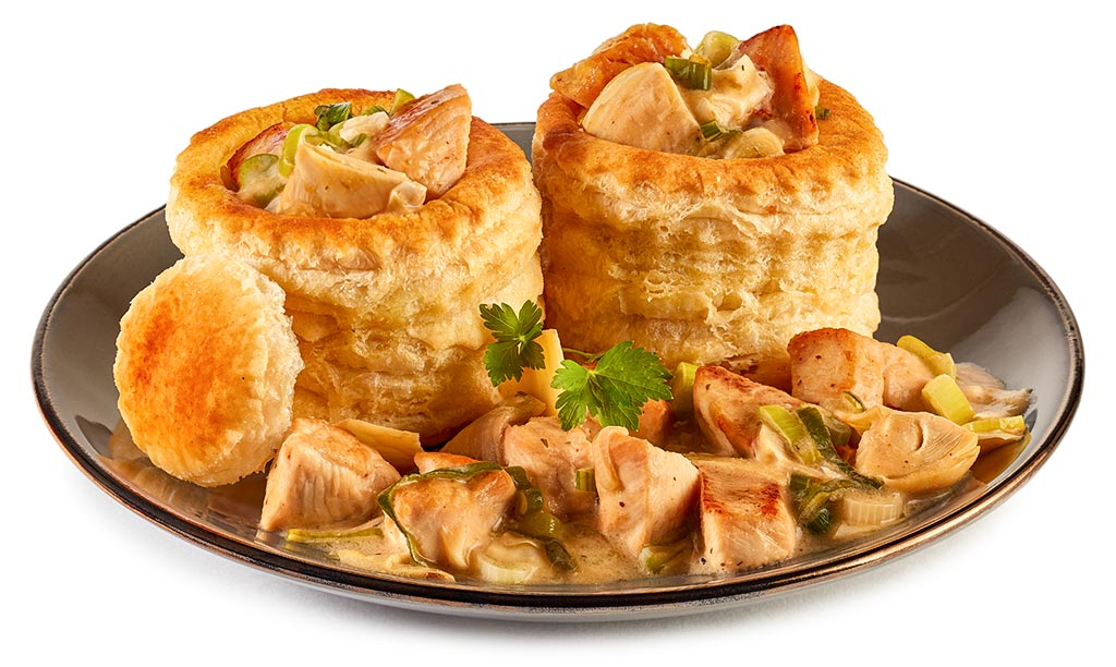 Chicken filled Puff Pastry Baskets