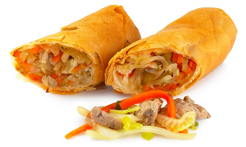 Spring rolls with pork fillet