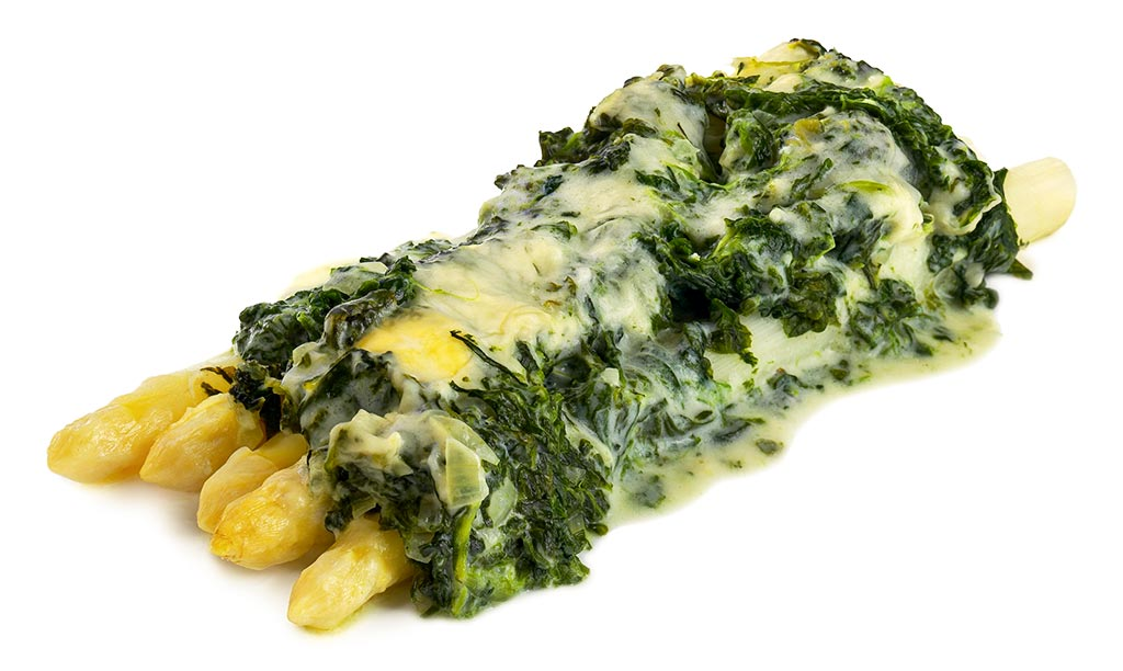 Asparagus gratin with spinach leaf