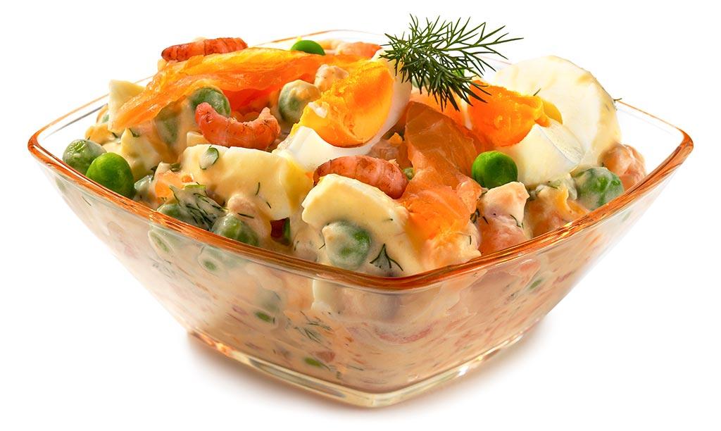 Egg salad with salmon