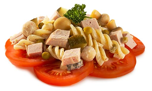 Noodle salad with meat sausage