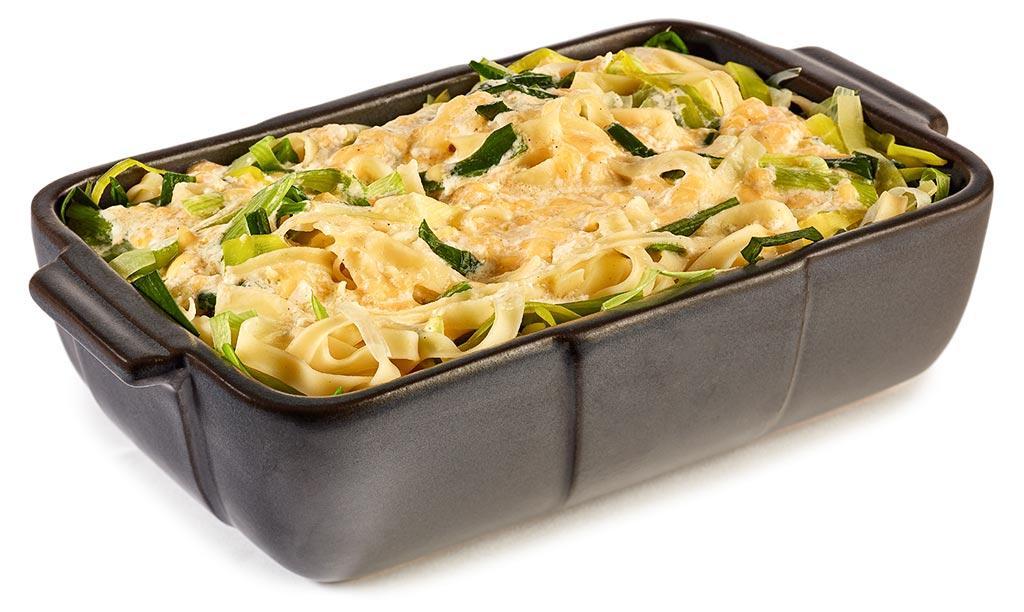 Leek noodle casserole