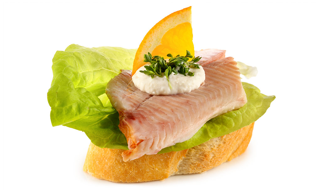 Canapes with trout fillet