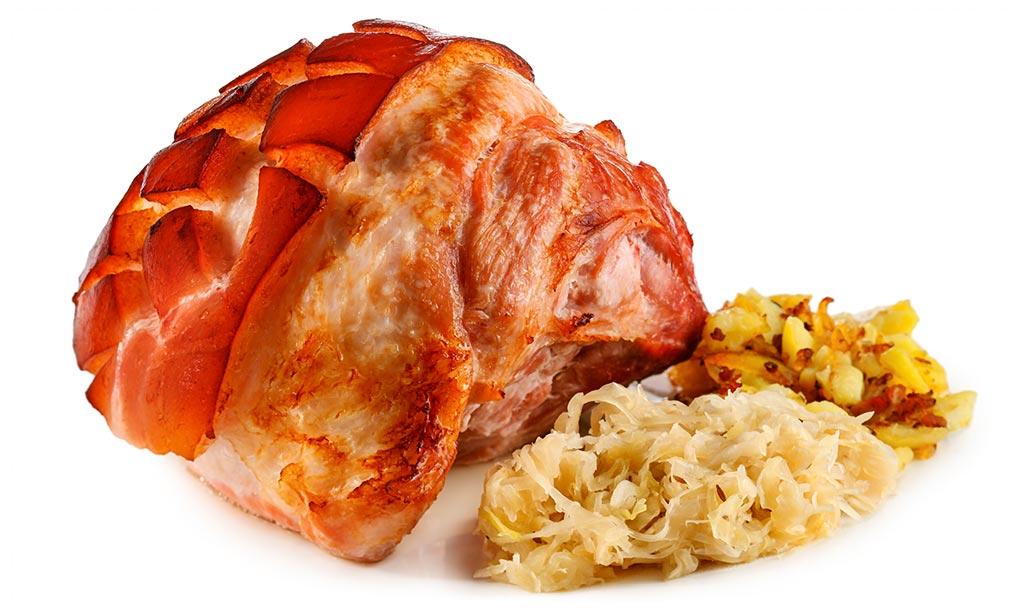 Baked ham with sauerkraut