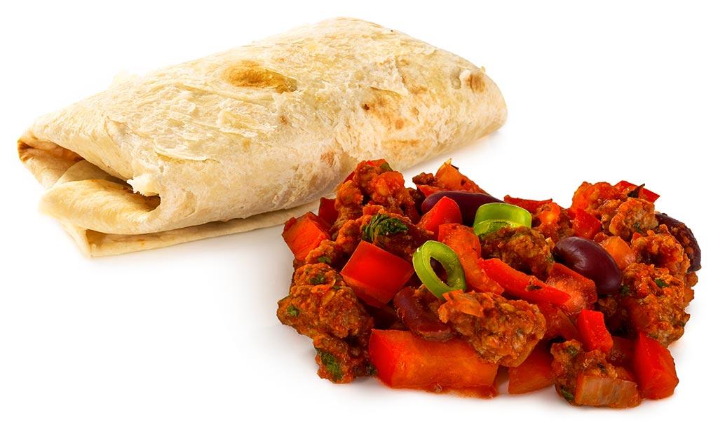 Burritos with Chili con Carne