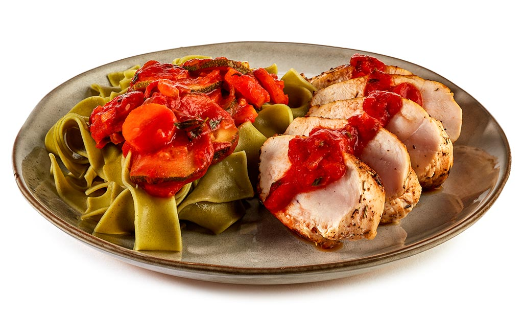 Chicken breast with vegetable noodles
