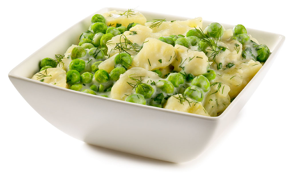 Bechamel potatoes with peas