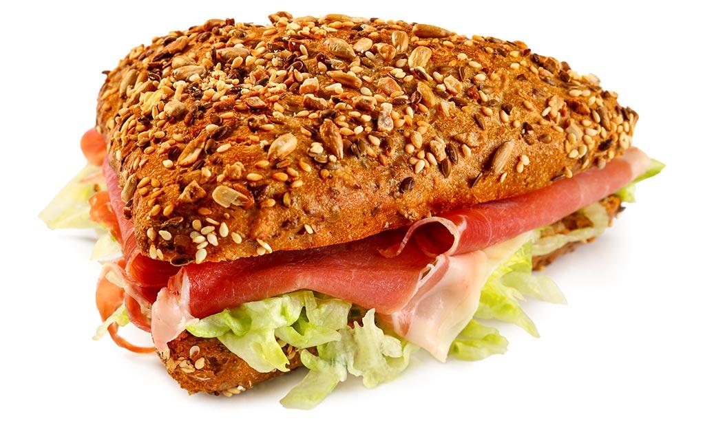 Ham roll with salad