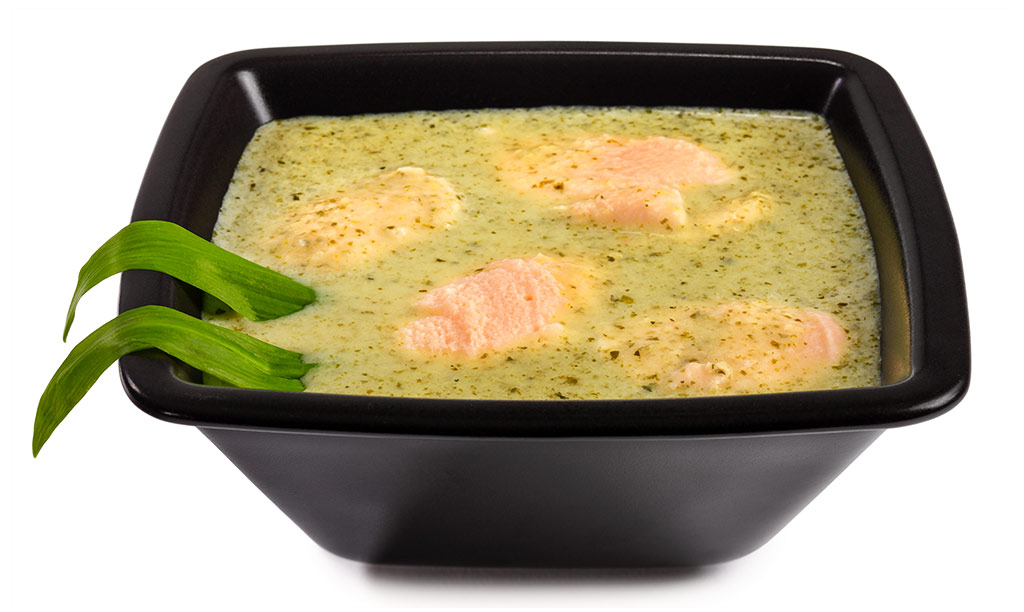 Wild garlic soup with salmon