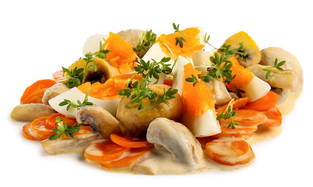 Rezept drucken eier champignon salat - Eier kochen dauer ...