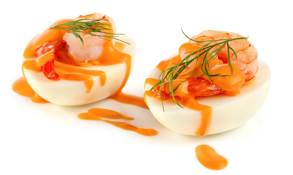Rezept drucken gef llte eier mit garnelen - Eier hart kochen dauer ...