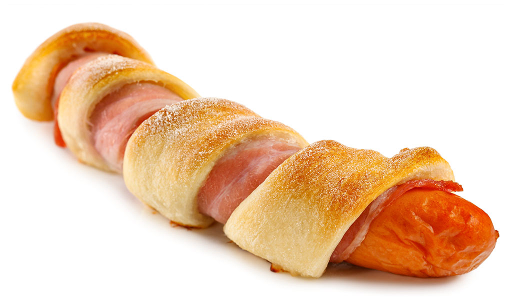 Sausage in a blanket with bacon