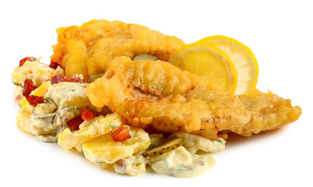 Back fish with potato salad