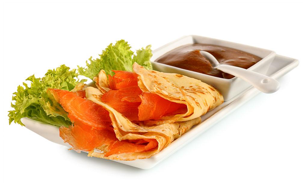 Crepes with smoked salmon