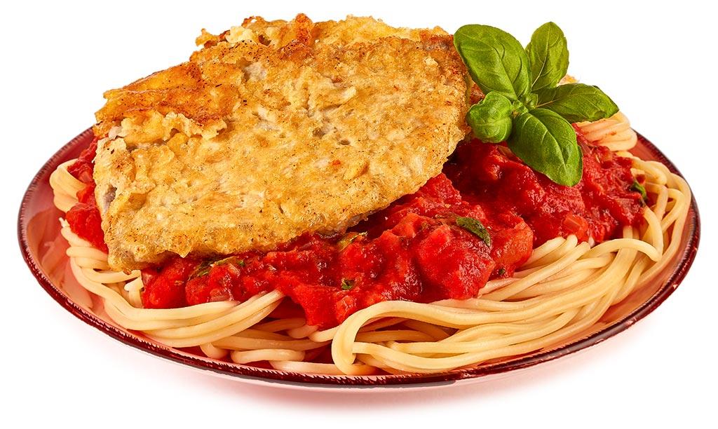 Piccata Milanese Schnitzel with spaghetti