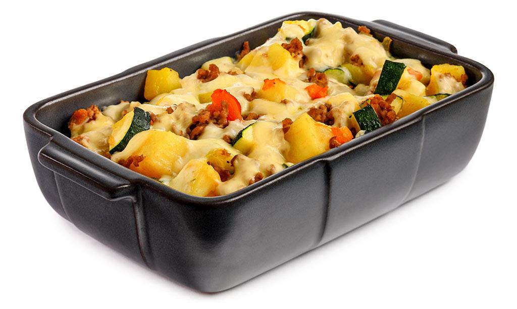 Zucchini minced meat potato casserole