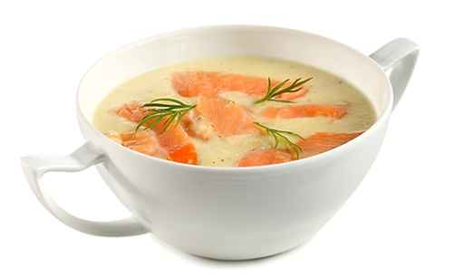 Flowers Cabbage Cream Soup with Salmon