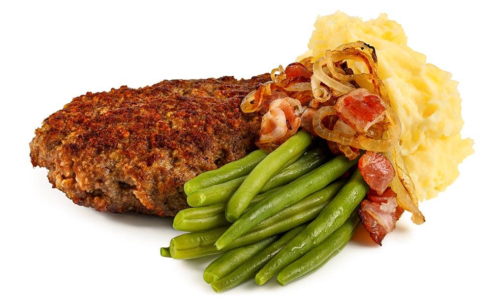 rezept drucken hack steak mit kartoffel brei und bohnen. Black Bedroom Furniture Sets. Home Design Ideas