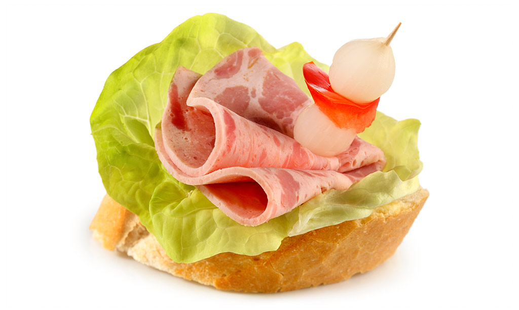 Canapes with beer ham