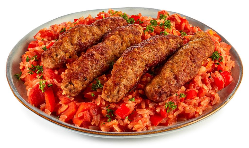 Cevapcici with Djuvec rice