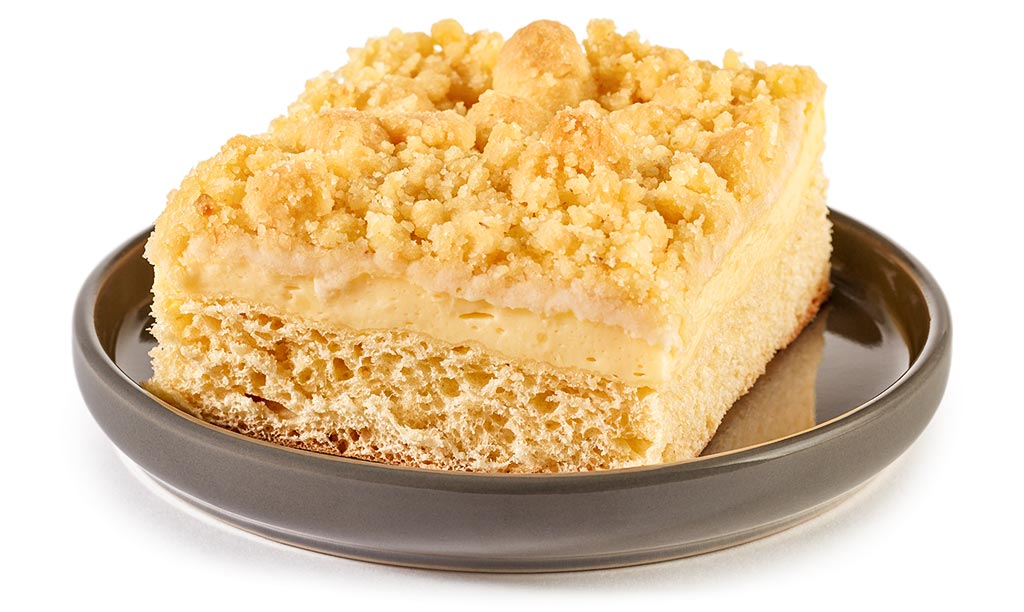 Crumble cake with pudding