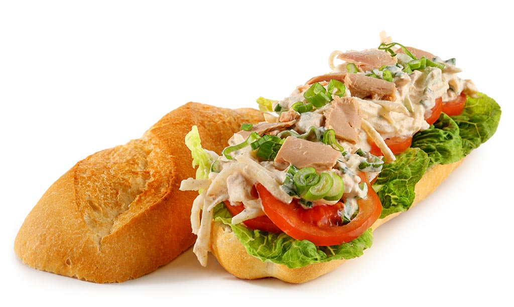 Croque with celery salad and tuna fish