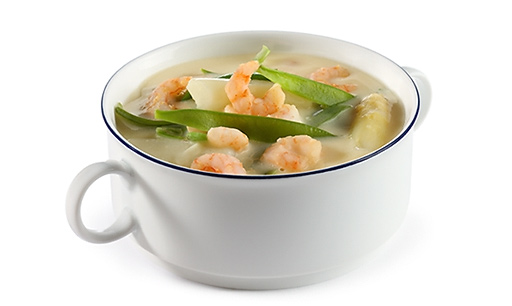 Asparagus cream soup with prawns
