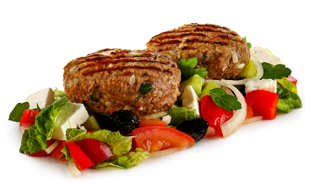 Bifteki on farmer salad