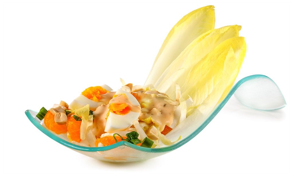 Rezept drucken eier salat mit chicoree - Eier hart kochen dauer ...