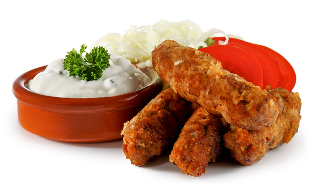 Cevapcici with Cabbage Salad and Tzatziki