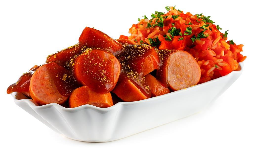 Curry sausage with Djuvec rice
