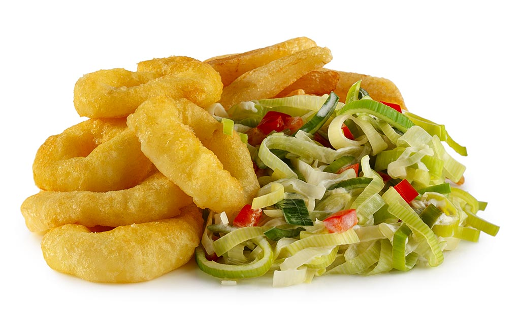 Calamari with leek vegetables & fries