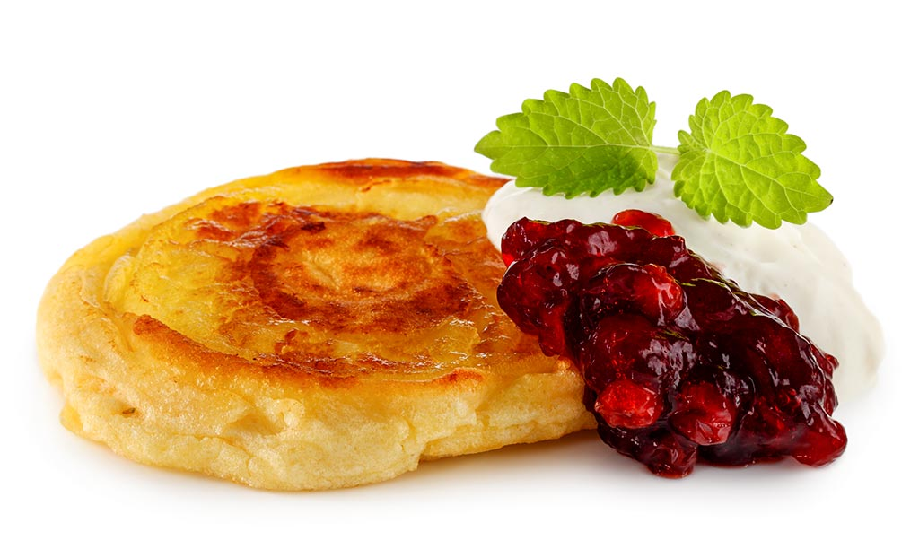 Apple pancake with cranberries