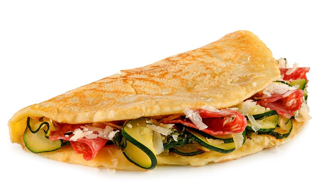 Zucchini Salami Pancakes