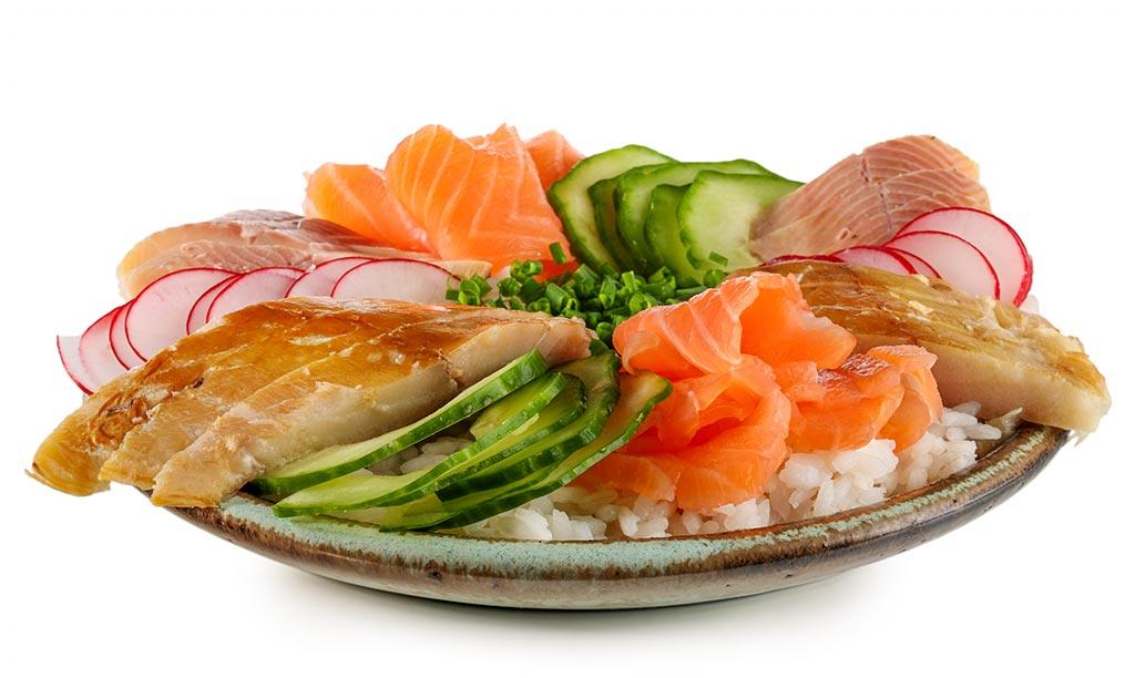 Chirashi Sushi with smoked fish