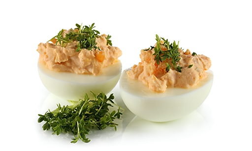 Rezept drucken gef llte eier mit spundek s - Eier kochen dauer ...