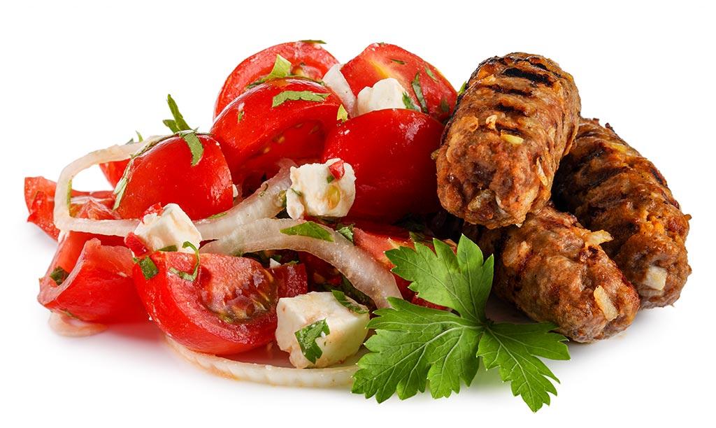 Cevapcici with tomato salad