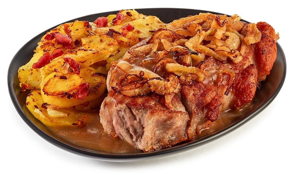 Onion Roast Roast with fried potatoes