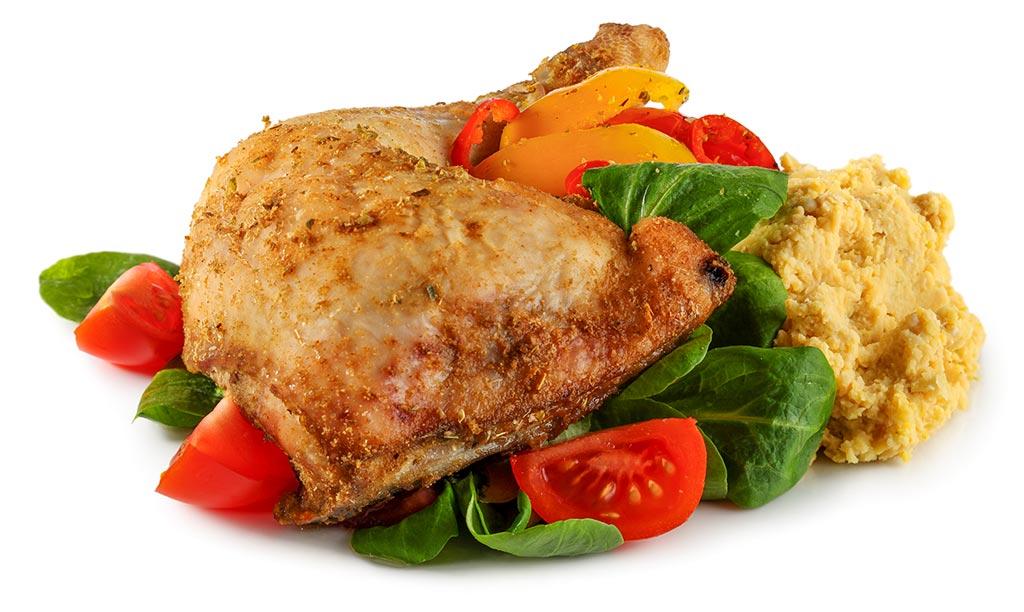 Paprika chicken legs with hummus