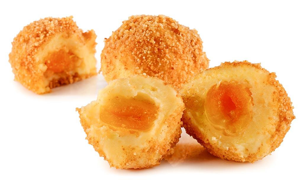 Apricot dumplings made from potato dough