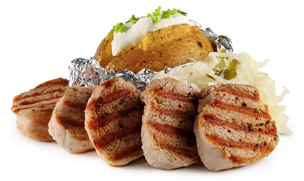 Pork fillet with cabbage salad