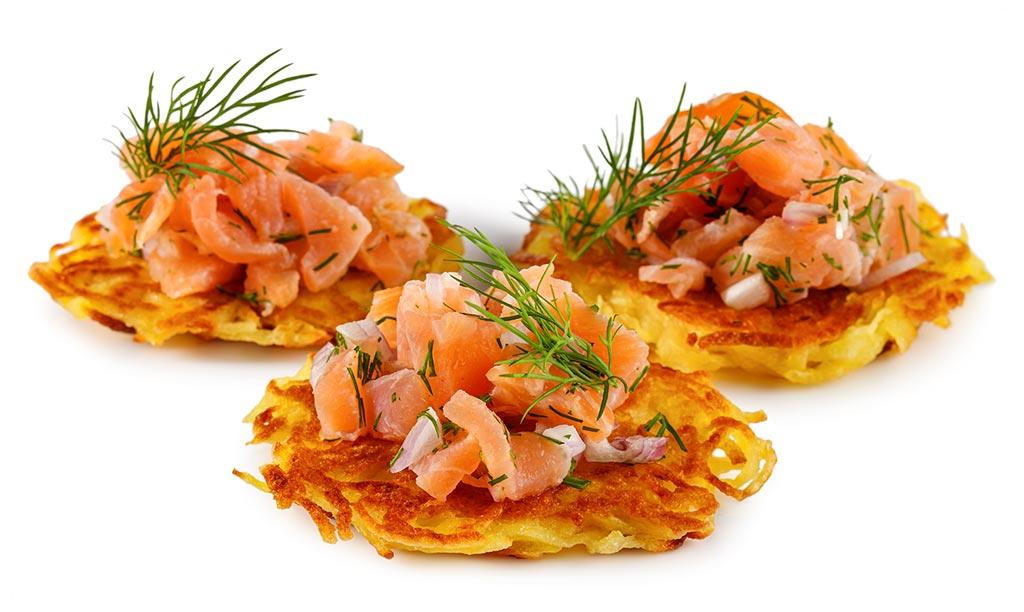 Potato pancakes with salmon tartare