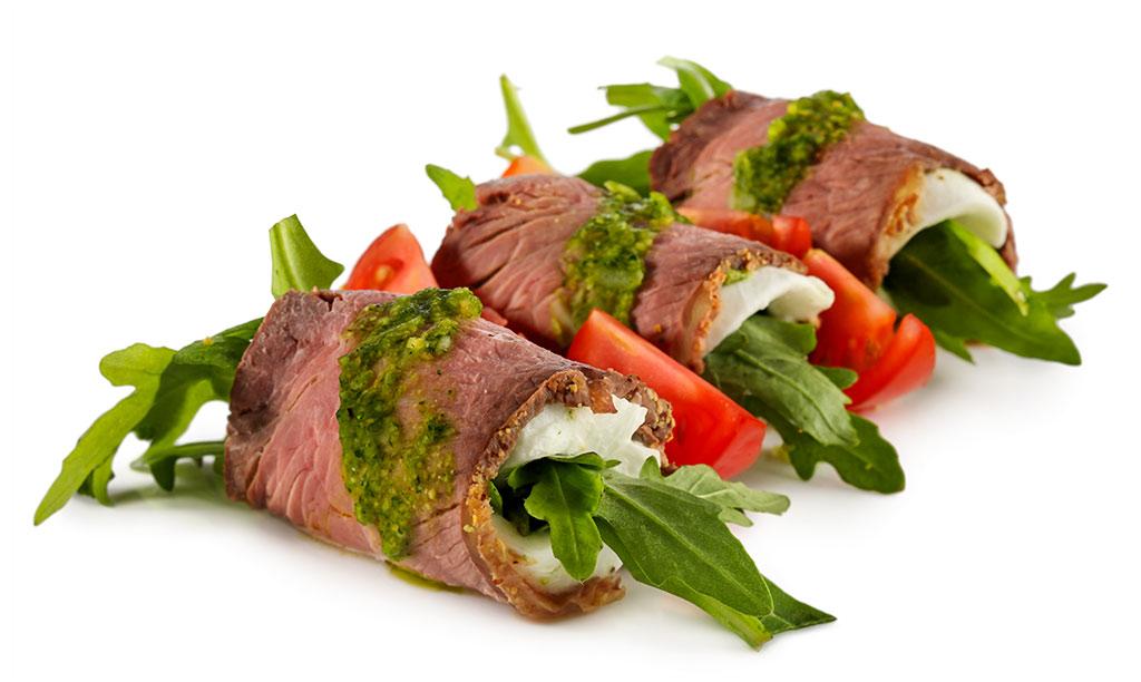 Antipasti Roast Beef Rolls